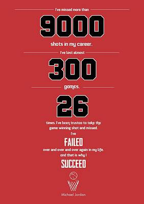 Michael Jordan Quote Sports Inspirational Quotes Poster Print by Lab No 4 - The Quotography Department