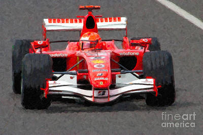 Impasto Oil Photograph - Michael Schumacher Canadian Grand Prix II by Clarence Holmes