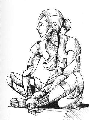 Daily Painter Painting - Michaela 24-3 - Abstract Nude Figurative Pen And Ink Drawing by Mark Webster