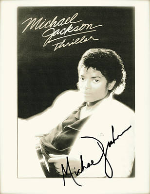 Michael Jackson Mixed Media - Micheal Jackson Signed Thriller Poster by Desiderata Gallery