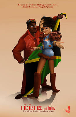 Jamaican Digital Art - Michie Mee And L.a.luv by Nelson Dedos Garcia