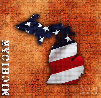Michigan State Mixed Media - Michigan Amercian Flag State Map by Marvin Blaine