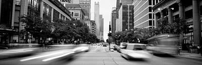 Headlight Photograph - Michigan Avenue, Chicago, Illinois, Usa by Panoramic Images
