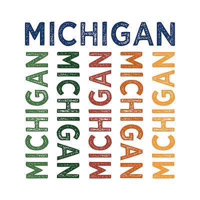 Michigan State Digital Art - Michigan Cute Colorful by Flo Karp