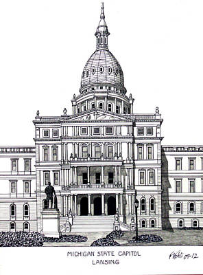 Capitol Building Mixed Media - Michigan State Capitol by Frederic Kohli