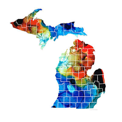 Michigan State Map - Counties By Sharon Cummings Print by Sharon Cummings