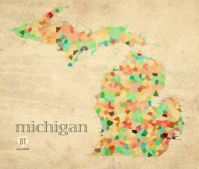 Michigan State Map Crystalized Counties On Worn Canvas By Design Turnpike Print by Design Turnpike