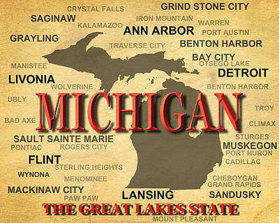 Michigan State Pride Map Silhouette  Print by Keith Webber Jr