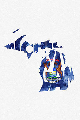 Sterling Digital Art - Michigan Typographic Map Flag by Ayse Deniz