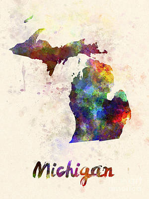 Michigan State Painting - Michigan Us State In Watercolor by Pablo Romero