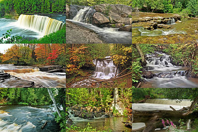 Michigan Waterfall Collection 1 Print by Michael Peychich