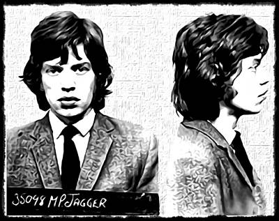 Rolling Stone Magazine Digital Art - Mick Jagger Mugshot In Black And White by Bill Cannon