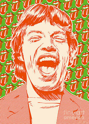 Beatles Digital Art - Mick Jagger Pop Art by Jim Zahniser