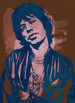 Keith Richards Drawing - Mick Jagger - Pop Stylised Art Sketch Poster by Kim Wang