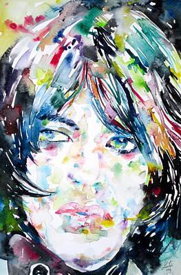 Mick Jagger - Watercolor Portrait.1 Print by Fabrizio Cassetta