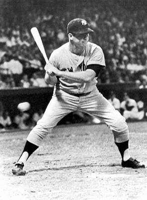 Mickey Mantle Vintage Photograph - Mickey Mantle At Bat by Underwood Archives