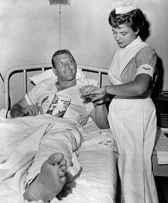 Old Yankee Photograph - Mickey Mantle In Hospital With Nurse by Retro Images Archive