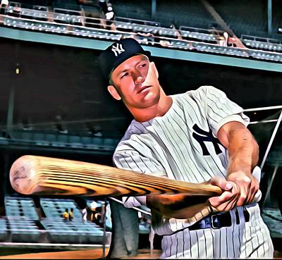 Mickey Mantle Vintage Photograph - Mickey Mantle Painting by Florian Rodarte