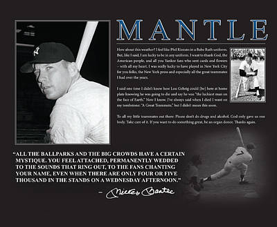 Old Yankee Photograph - Mickey Mantle by Retro Images Archive