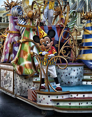 Mickey Mouse On His Celebrate It Float Print by Thomas Woolworth