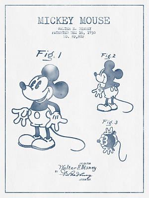 Mouse Drawing - Mickey Mouse Patent From 1930 - Blue Ink by Aged Pixel