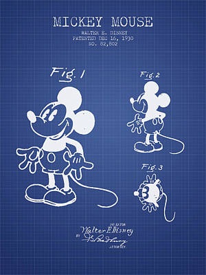 Mouse Drawing - Mickey Mouse Patent From 1930- Blueprint by Aged Pixel
