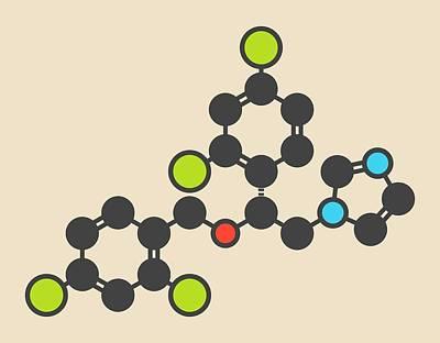 Miconazole Antifungal Drug Molecule Print by Molekuul