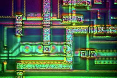 Electronics Photograph - Microchip Surface by Frank Fox