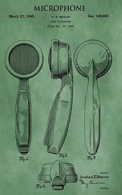 Loud Mixed Media - Microphone Patent Green by Dan Sproul