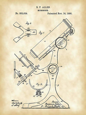Labs Digital Art - Microscope Patent 1886 - Vintage by Stephen Younts