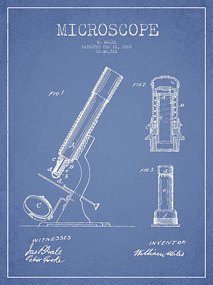 Microscope Patent Drawing From 1865 - Light Blue Print by Aged Pixel