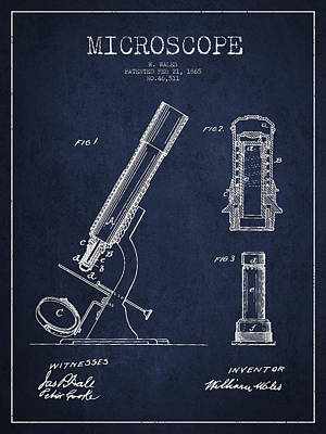Microscope Patent Drawing From 1865 - Navy Blue Print by Aged Pixel