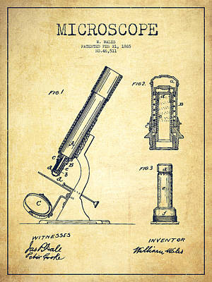 Microscope Patent Drawing From 1865 - Vintage Print by Aged Pixel
