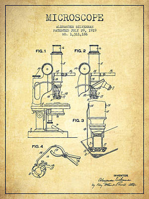 Microscope Patent Drawing From 1919- Vintage Print by Aged Pixel