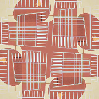 Mid-century Design Terra-cotta Print by Carol Leigh