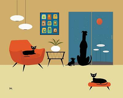 Black Cat Digital Art - Mid Century Dogs And Cats by Donna Mibus