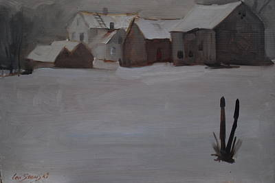 Farm And Barns Painting - Mid Winter At Michalskis by Len Stomski