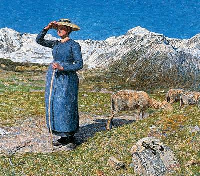 Midday On Alps On Windy Day Print by Giovanni Segantini