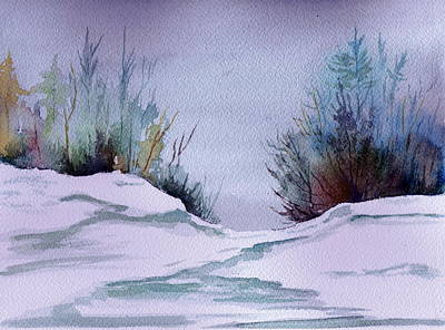 Snowscape Painting - Midday Winter In Maine by Brenda Owen