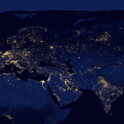 Light Photograph - Middle East At Night by Celestial Images