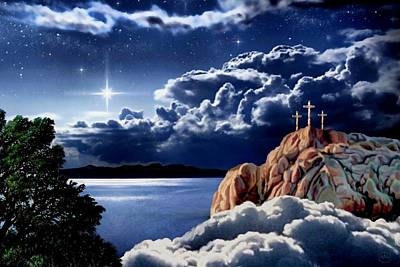 Midnight At Calvary Print by Ron Chambers