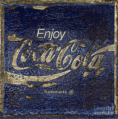 Midnight Blue Abstract Coca Cola Sign Print by John Stephens