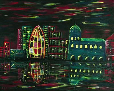 Malakhova Drawing - Midnight City by Anastasiya Malakhova