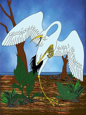 Midnight Crane Print by Charles Smith