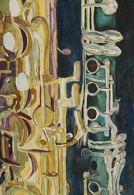 Saxophone Painting - Midnight Duet by Jenny Armitage