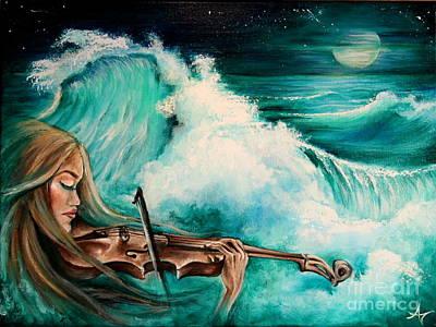 Midnight Fiddler Print by Amanda Nichols Mc