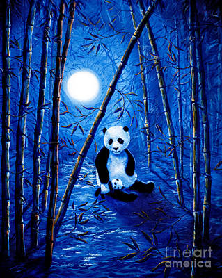 Panda Bear Painting - Midnight Lullaby In A Bamboo Forest by Laura Iverson