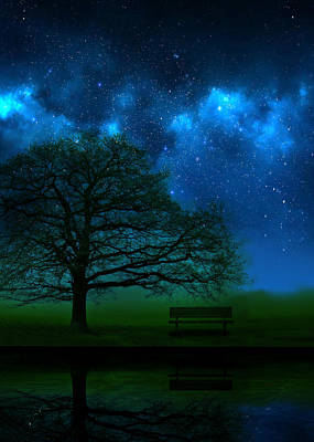 Benches Photograph - Midnight by Mark Rogan