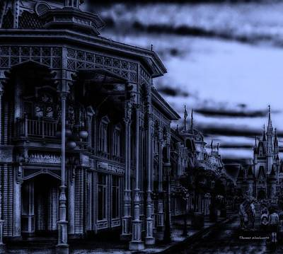 Midnight On Main Street Disney World Print by Thomas Woolworth