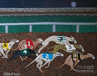Dog Race Track Painting - Midnight Run by Anthony Morris
